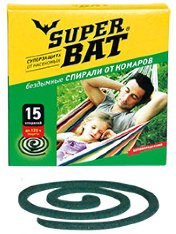 SuperBAT Спирали зеленые от комаров, в пачке, 15шт.