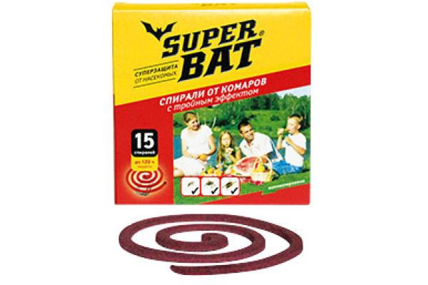SuperBAT Спирали красные тройного действия от комаров, мух и ос в пачке, 15шт.