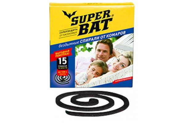 SuperBAT Спирали черные от комаров, в пачке, 15шт.
