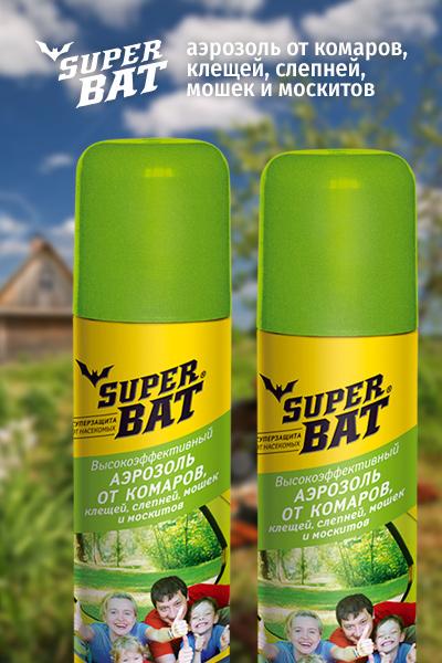 """""""Super Bat"""", аэрозоль от комаров и клещей"""