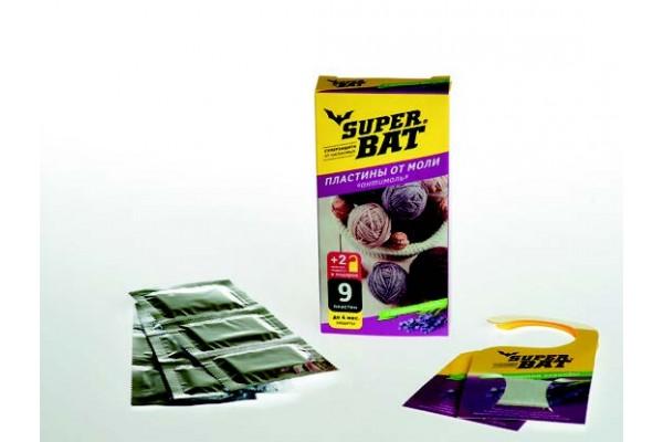 SuperBAT Пластины от моли, лаванда, 9шт (9 пластин+2 крючка)