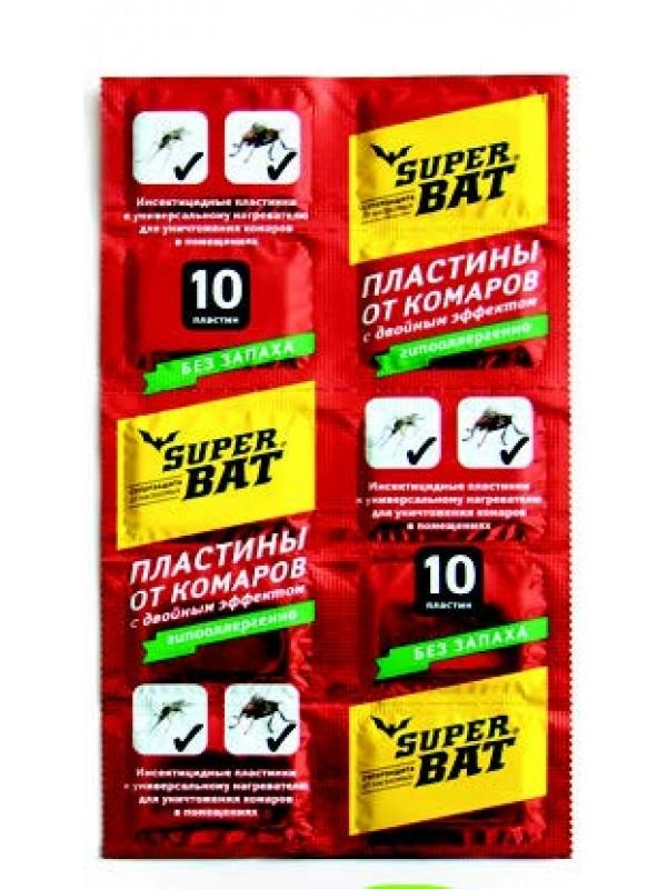 SuperBAT Пластины от комаров и мух красные, двойного действия, 10шт.