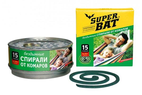 SuperBAT Спирали зеленые в мет. банке зеленые, бездымные, без запаха, 15шт. !НЕТ В НАЛИЧИИ!