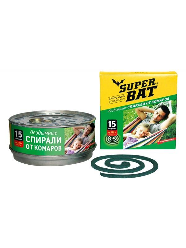 SuperBAT Спирали зеленые в мет. банке зеленые, бездымные, без запаха, 15шт.