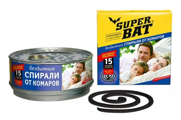 SuperBAT Спирали в мет. банке черные, бездымные, без запаха, 15шт. !НЕТ В НАЛИЧИИ!