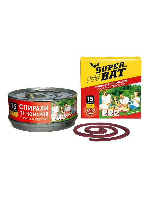 SuperBAT Спирали красные в мет. банке от комаров, мух и ос, с тройным эффектом, бездымные, без запаха, 15шт. !НЕТ В НАЛИЧИИ!