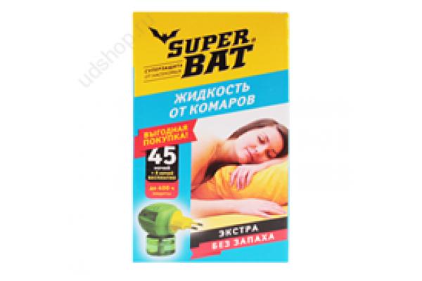 SuperBAT Жидкость от комаров дополнительный флакон, Экстра 45 ночей +5 ночей в подарок, 30мл.