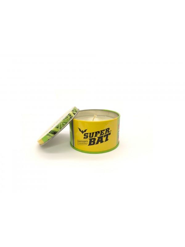 SuperBAT Ароматизированная свеча от комаров на масле цитронеллы в банке, 250мл