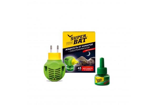 SuperBAT Комплект Жидкость от комаров 45 ночей, 30 мл, + фумигатор 24 шт./кор.