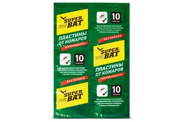 SuperBAT Пластины от комаров, зеленые, 10шт.